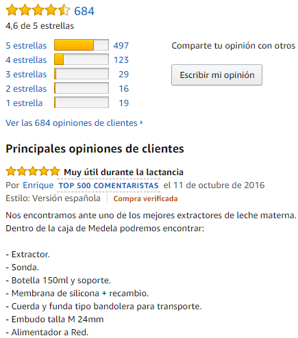 comentarios del medela electrico simple